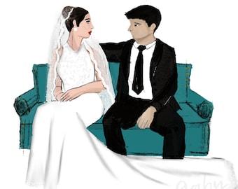 Custom Bride & Groom Wedding Illustration