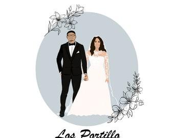Custom Wedding Guestbook x Alternative Guestbook Idea x Bride & Groom Illustration