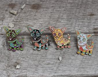 Chihuahua Enamel Lapel Pin - Multiple Colors! - Alebrije, Dia de los Muertos, Calavera, Sugar Skull