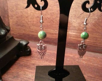 Beaded owl dangle earrings