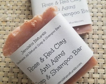 Rose & Red Clay Anti- Aging Shampoo And Soap Bar