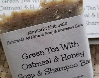 Green Tea With Honey & Oatmeal Soap And Shampoo Bar