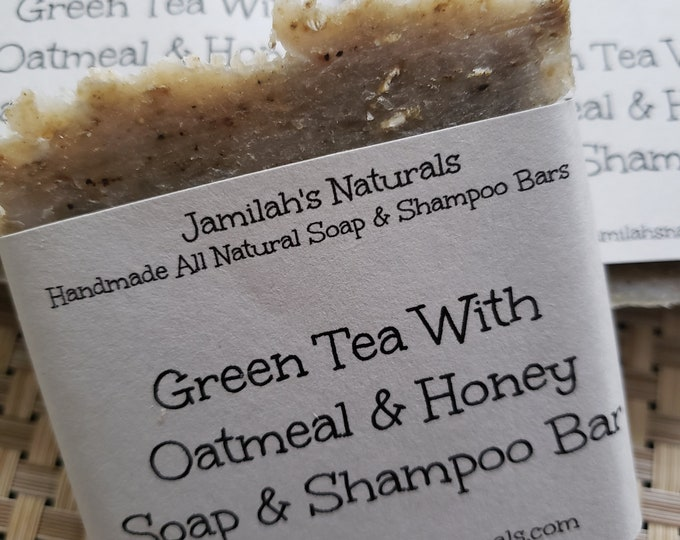 Green Tea With Honey & Oatmeal Soap And Shampoo Bar