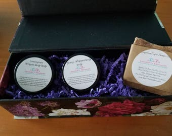 Mix and match gift set of 3 body butters, lotions, balms, soap or creams