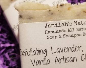 Exfoliating Lavender, Rosemary and Vanilla Artisan Clay Soap & Shampoo Bar