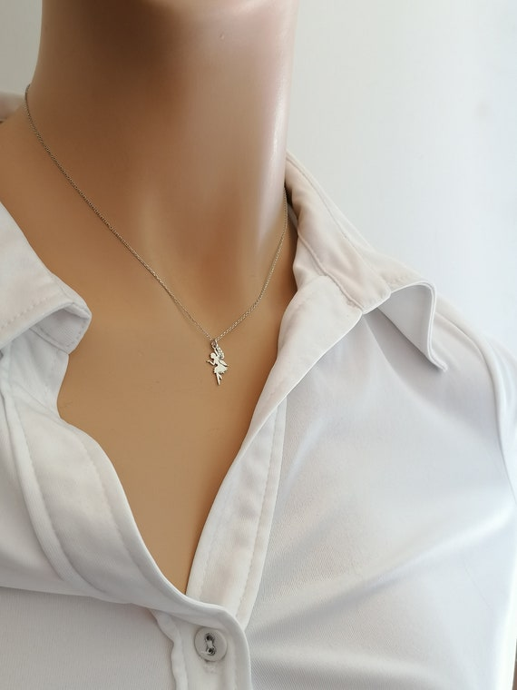 White Gold Dainty Rose Gold necklace Fairy Necklace 14K yellow gold 9K necklace Minimal Charm Pendant