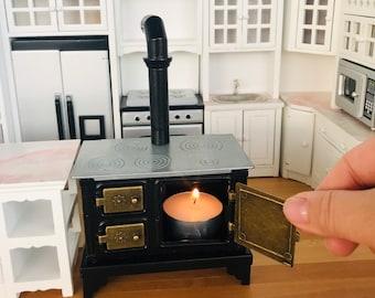 1:12 Scale Miniature Metal Black Stove Real Mini Cooking Tiny Kitchen Dolls House
