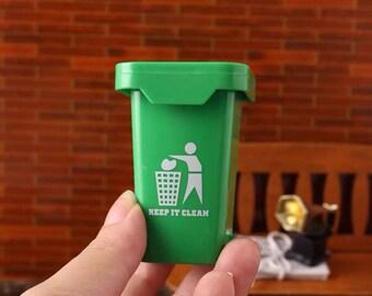 Dolls House Miniature Green Wheelie Waste Bin