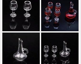 1:12 Scale Glass Wine Decanter Wine glasses