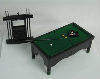 112 Scale dolls house miniature pool table set & Miniature Pool Table/Billiards Table Set 8-ball Brush