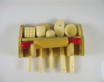 Dolls House Miniature Kitchen shelf and utensils