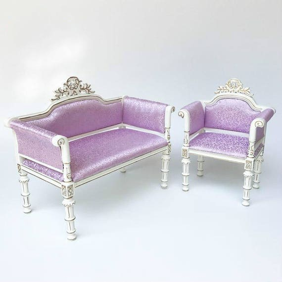Groovy 1 6 Scale Blythe Barbie Lilac Sofa Chair 2Pcs Ibusinesslaw Wood Chair Design Ideas Ibusinesslaworg