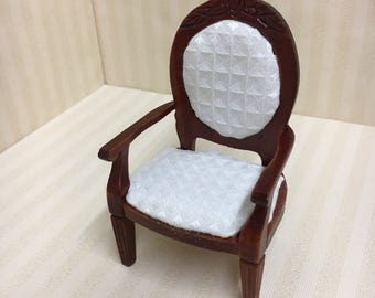 Dolls House Miniature Chair with White Seat