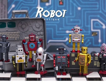 "Miniature 2"" Retro Antique Tin Toy Robots"