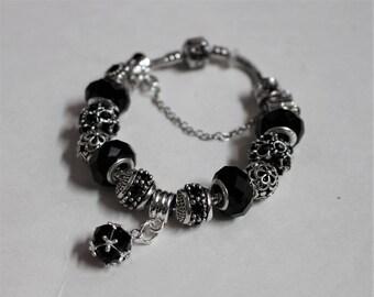 48d85adaa European Pandora Style Bracelet, Crystal Ball, Glass beads, European Metal  charms. Make by demand.