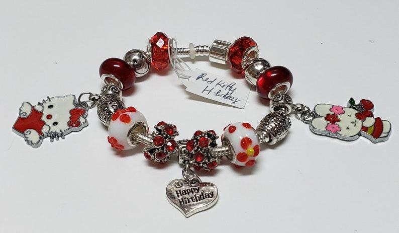 54f6c3f4c European Pandora style Bracelet Happy Birthday Themed Hello | Etsy