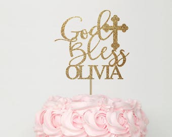Baptism cake topper, god bless cake topper, cross cake topper, baptism girl cake topper, baptism decorations, gold cake topper