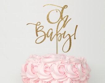 Baby shower cake topper, baby shower cake top, gender reveal cake topper, baby shower decorations, oh baby cake topper, gold cake topper