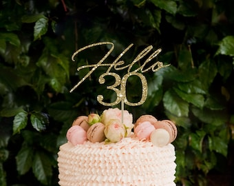 Hello 30 Cake Topper 30th Birthday For Her Decorations Glitter Dirty Thirty