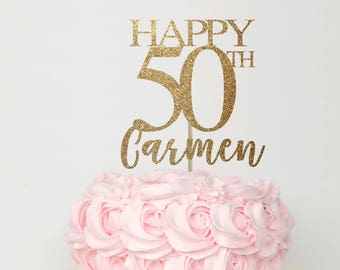 50 And Fabulous Cake Topper Birthday Decorations 50th Decor Gold