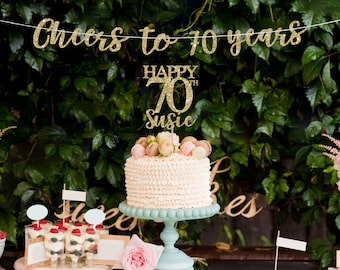 70 Cake Topper Banner 70th Birthday Decorations Decor Gold