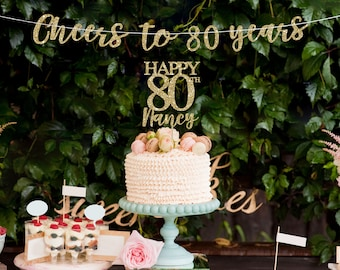 80 Cake Topper Banner 80th Birthday Decorations Decor Gold