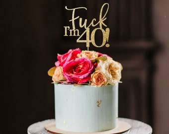 40 cake topper, 40th cake topper, 40th birthday party decoration, 40th birthday topper, gold cake topper, 40 birthday topper, forty cake top