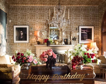 Happy birthday banner, personalized birthday banner, happy birthday sign, happy birthday banner gold, gold birthday banner, first birthday