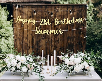 Beer Can Happy 21st Birthday Banner Personalized Party Backdrop Decoration