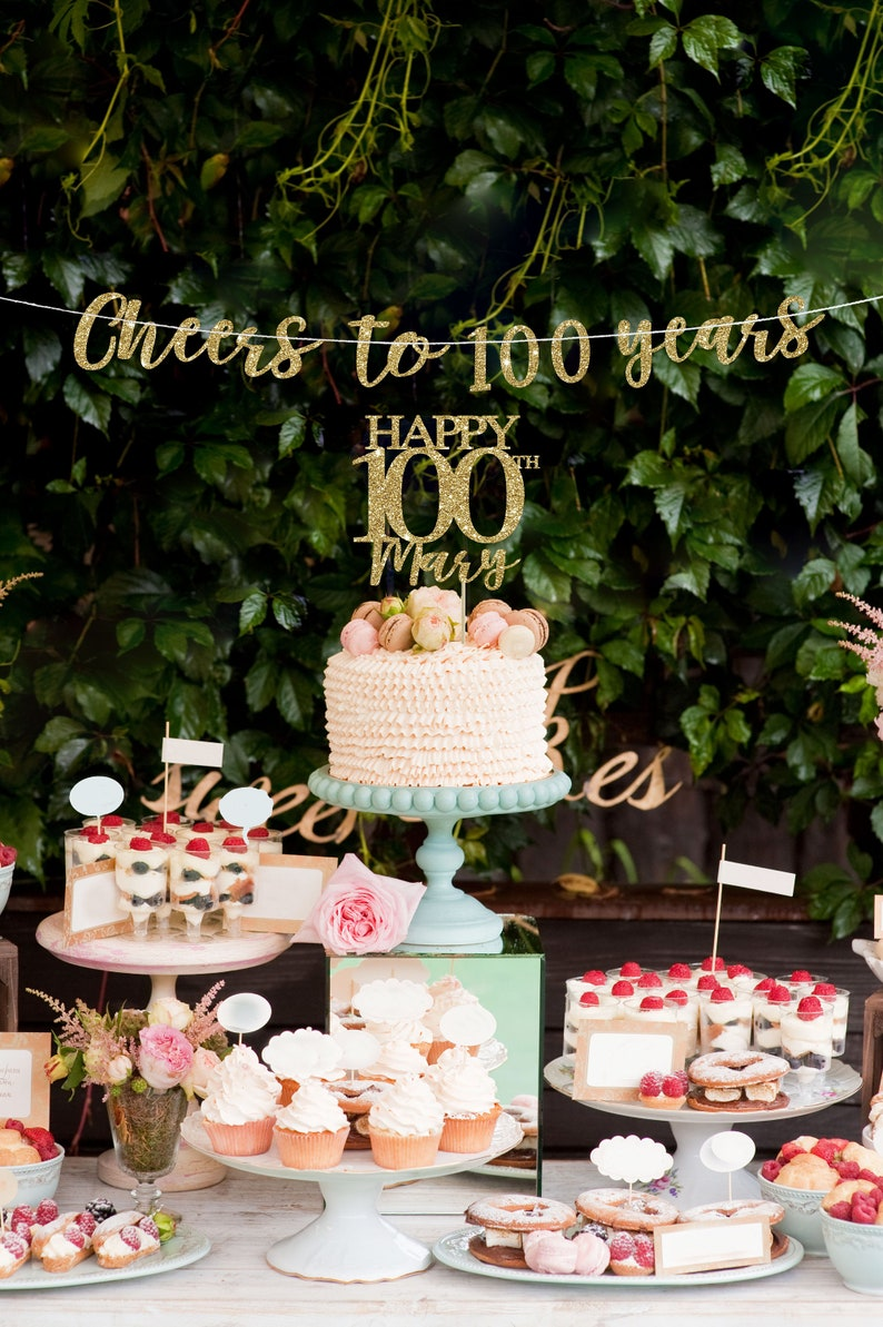 100 Cake Topper Banner 100th Birthday Decorations