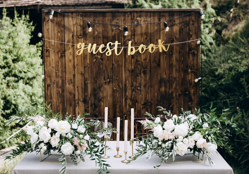 Guest Book Banner Wedding Decorations Banner For Wedding Etsy