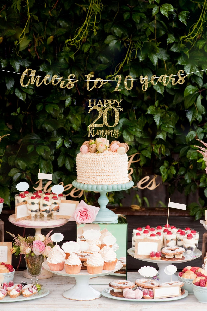 20 Cake Topper Banner Birthday Decorations