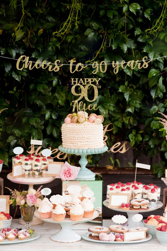 90 Cake Topper Banner 90th Birthday Decorations