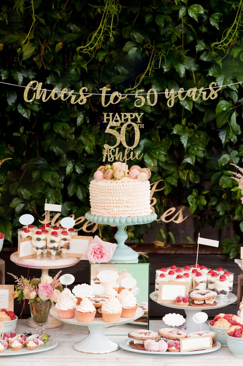 50 Cake Topper Banner Birthday Decorations 50th Decor Gold