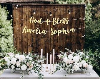 God bless banner, baptism banner, christening banner, baptism banner for girls, baptism prop, baptism decorations girl, baptism boy