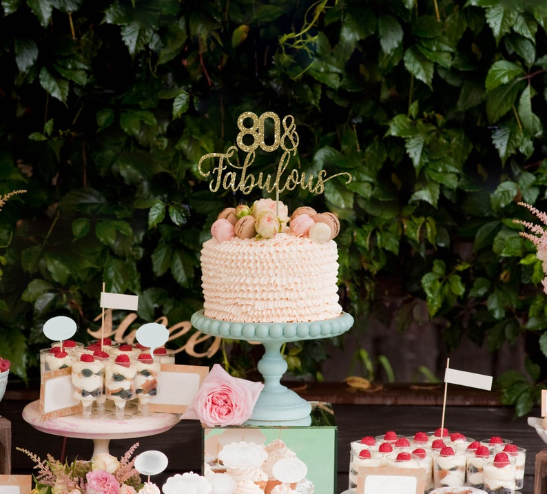 80 And Fabulous Cake Topper Birthday Decorations