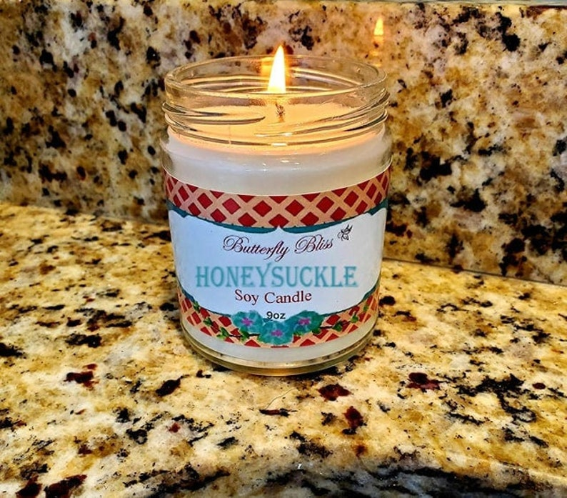 spring candle scented candle honeysuckle floral candle honeysuckle soy candle honeysuckle candle floral soy candle summer candle