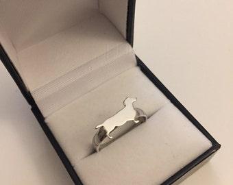 Dachshund Dog Ring Silver 925