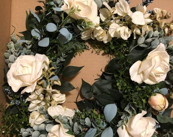 Rustic Greenery Wreath or Centerpiece