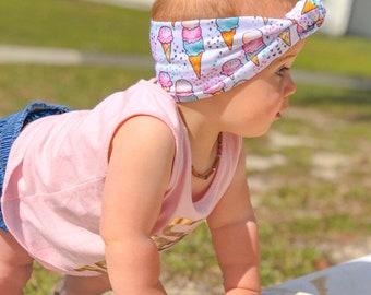 Ice cream topknot / baby headband / topknot / big bow / baby bow