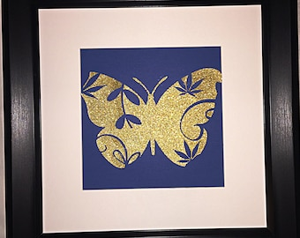 High like a butterfly - cannabis inspired paper art, cannabis decorations, cannabis wall art