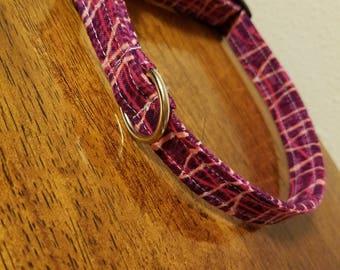 Handmade burgundy dog collar