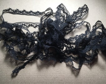 Czech  vintage black lace Made in the 1970s 5 meters