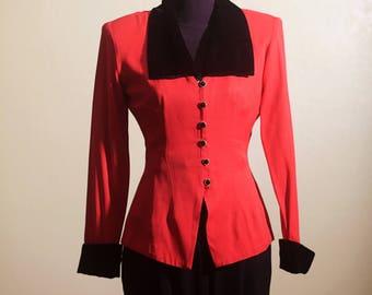 Vintage 90s Dawn Joy Red and Black Velvet Blouse Jacket Blazer