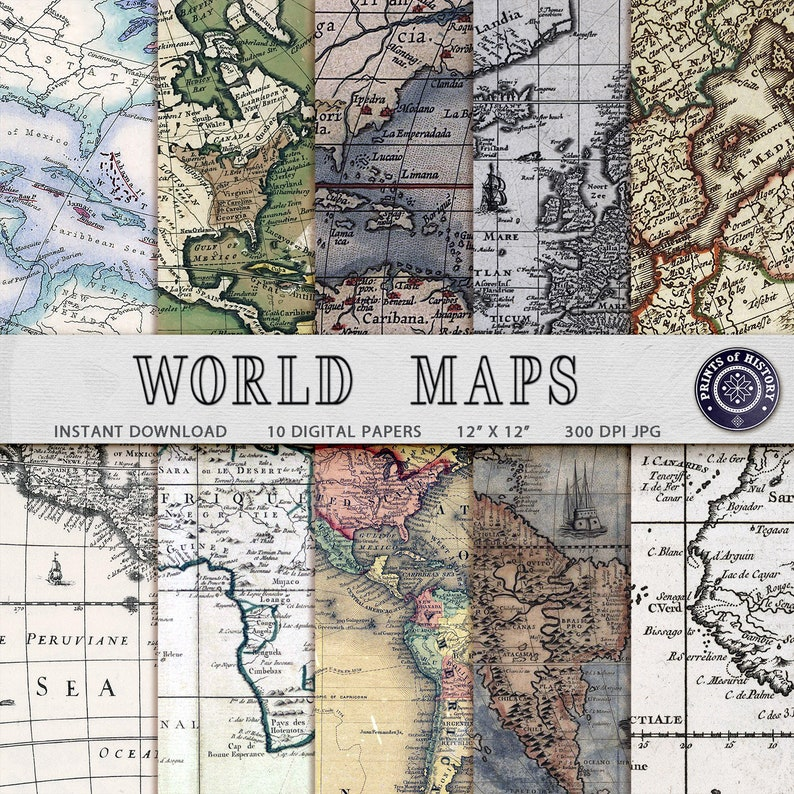 Vintage World maps digital paper Sbooking printable Home decor map on map themed wedding decor, old map wall decor, world map wall decor, map home decor,