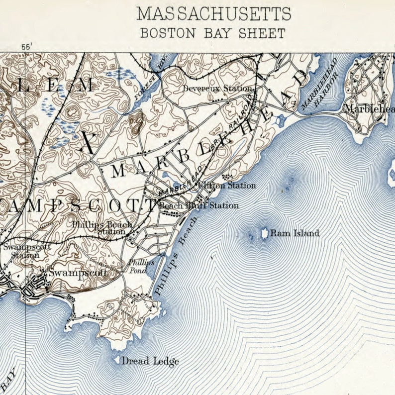 picture about Printable Map of Massachusetts named Traditional Boston Bay map Machusetts Electronic print Printable sbook paper Winthrop Nahant Lynn Quincy Hull Nautical electronic paper