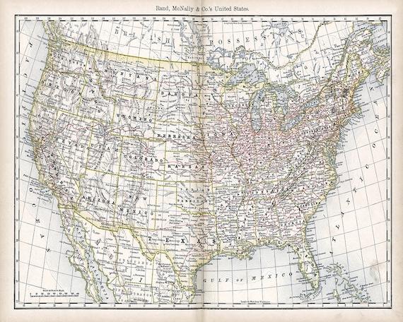 Printable USA map Vintage map of the United States of America Digital print  Large map High resolution Vintage digital paper Scrapbook paper