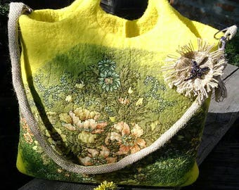 Feltet bag Wet felted bag Flower decorated bag Wool tote bag  Bag of felt Beautiful women bag Bag with flowers casual bag fema