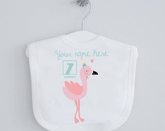 1st birthday flamingo baby bib - personalised bib, personalised birthday, feeding bib, dribble bib, drool bib, flamingo, pink girl bib, gift