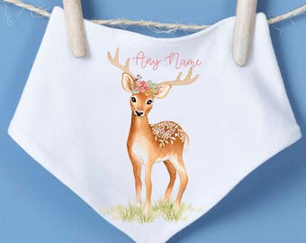 Baby Deer bandana bib - dribble bib, personalised bib, drool bib, baby shower gift, woodland animals, antlers, new baby gift, new born, deer